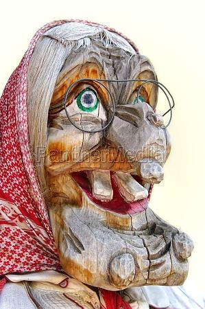 kvinde ferie trae ansigt harpiks karneval
