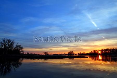 miljo solnedgang sachsen elbe landskab natur