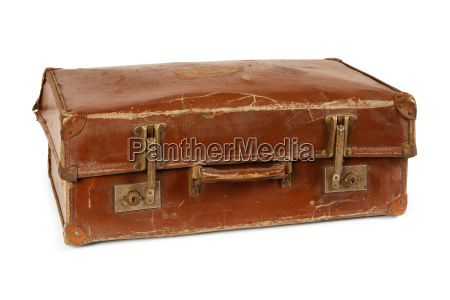 worn old suitcase isolated