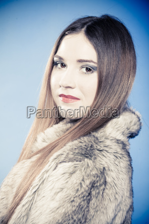 fashionable girl with long hair young