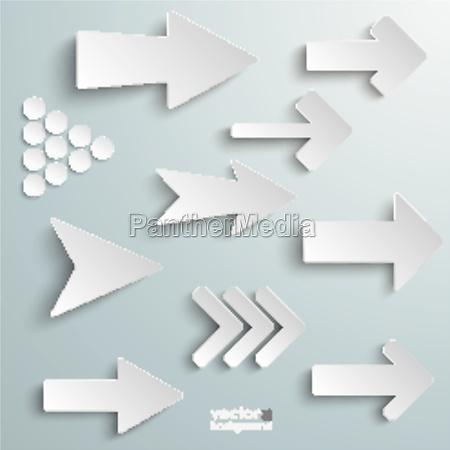 forskellige hvide pile