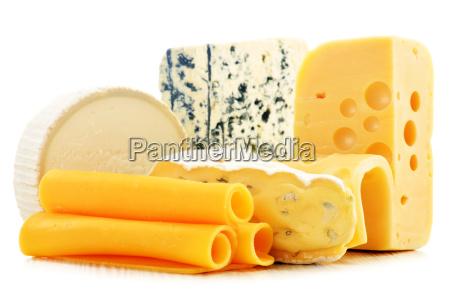 forskellige slags ost isoleret pa hvid