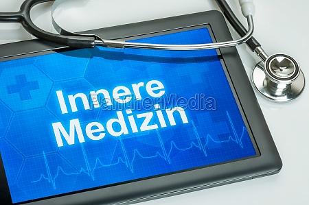 tablet med intern medicin pa skaermen