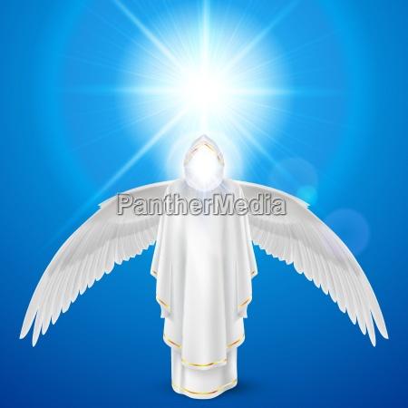 hvid engel mod himmel baggrund