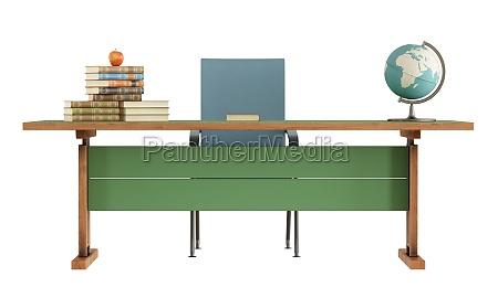 retro laererens skrivebord pa hvidt