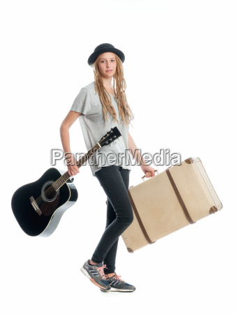 trunk suitcases suitcase headgear guitar vacation