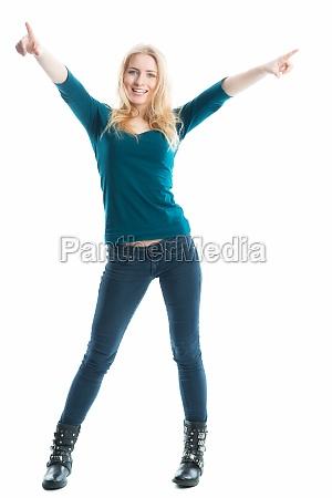 cheering blond girl