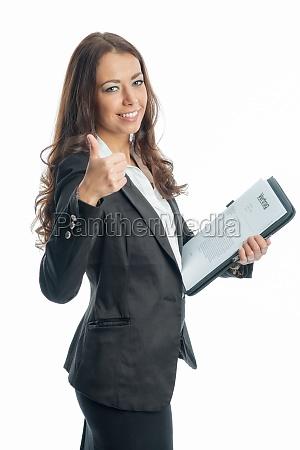 forretningskvinde, med, dokumenter - 11822937
