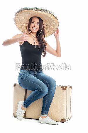 frau, mit, koffer, und, sombrero - 11822525