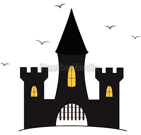 cartoon castle illustration med flyvende krager