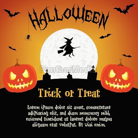 cartoon halloween illustration med tekstpladsholdere