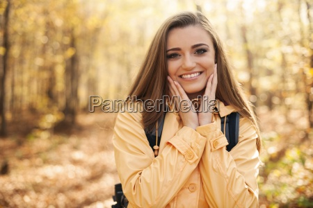 portrait of young happy woman during