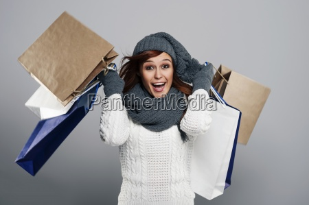 young excited woman during the winter