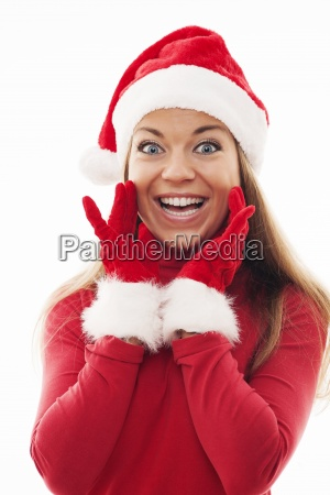young woman with santa hat and