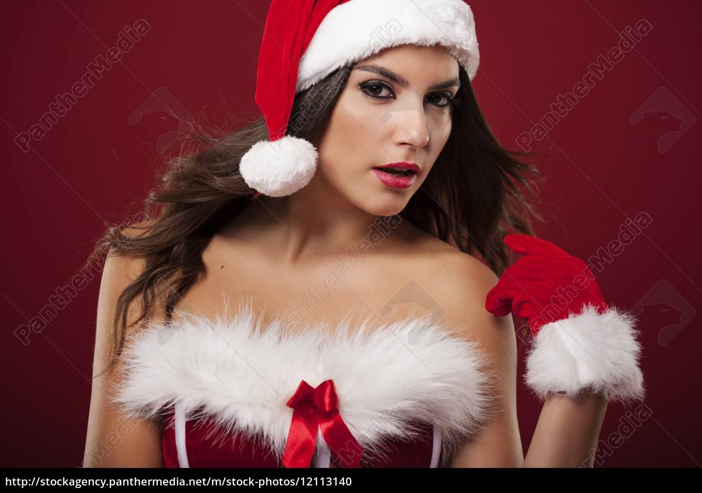 portræt, af, sexet, jul, kvinde, - 12113140