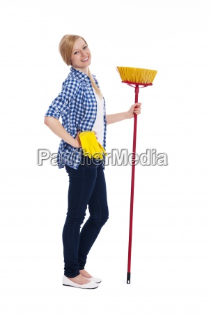 portrait of beautiful female cleaner with