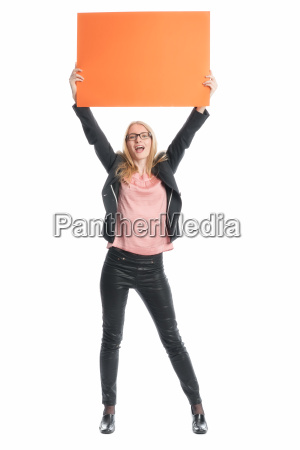 woman with billboard