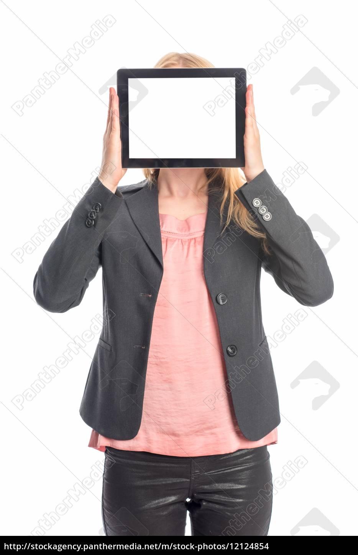 kvinde, med, tablet, pc, - 12124854