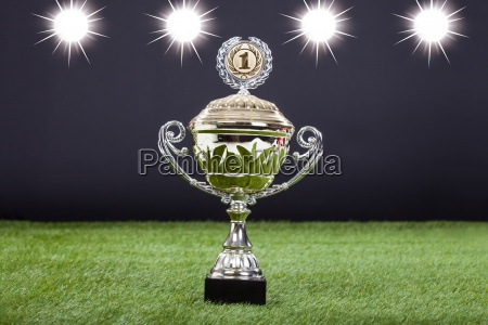 trophy cup liggende pa gront pitch