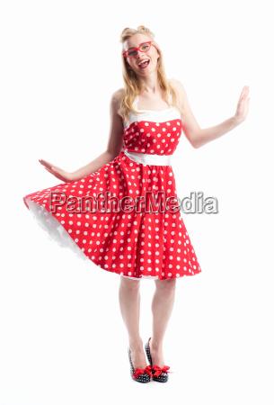 jubilant woman in rockabilly style