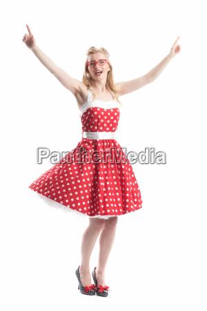 cheering woman in rockabilly style