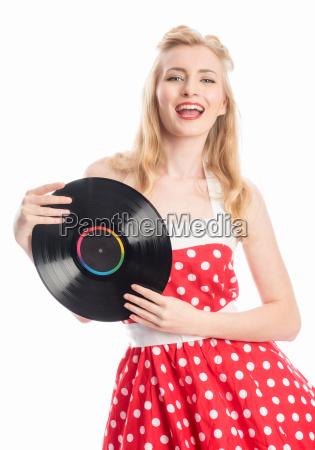 kvinde musik plakat grammofonplade plade vinyl