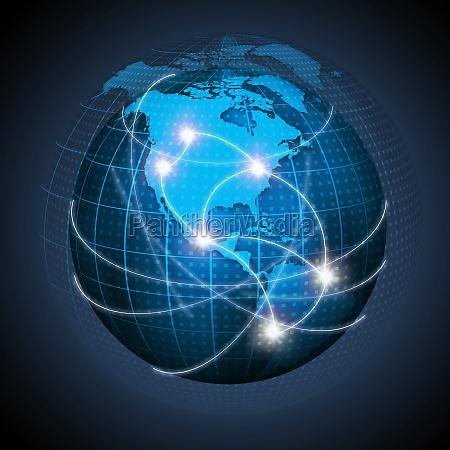 nordamerikanske og sydamerika tilsluttet globe