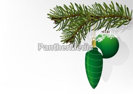 green christmas balls