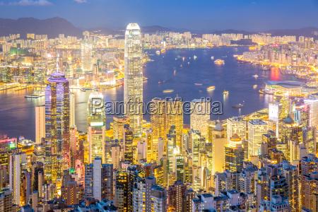 aerial hongkong skyline