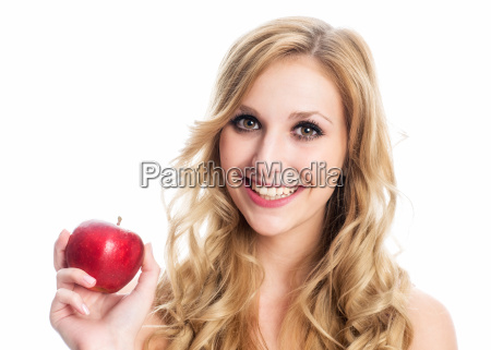 woman holding red apple