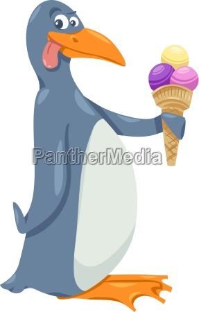 pingwin z lodami kreskowki
