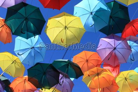 street decorated with colored umbrellasmadrid getafe