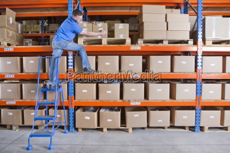 worker standing on shelf and reaching