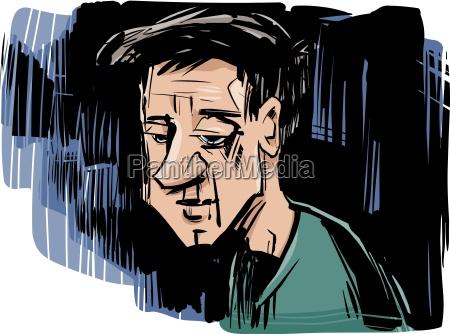 taenkning mand tegning illustration