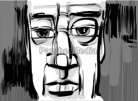 mand ansigt kunstnerisk tegning illustration