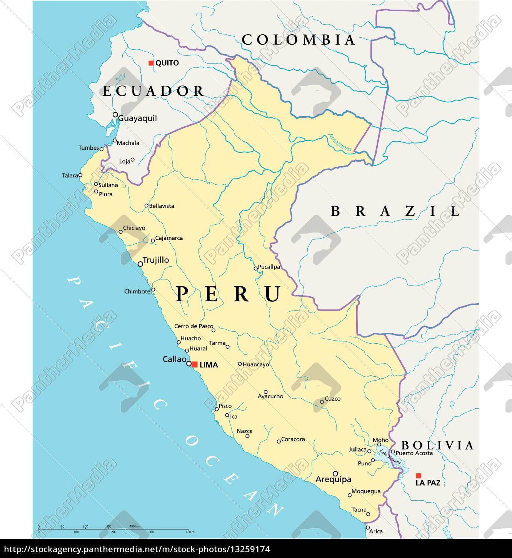 Peru Politisk Kort Stockphoto 13259174 Panthermedia