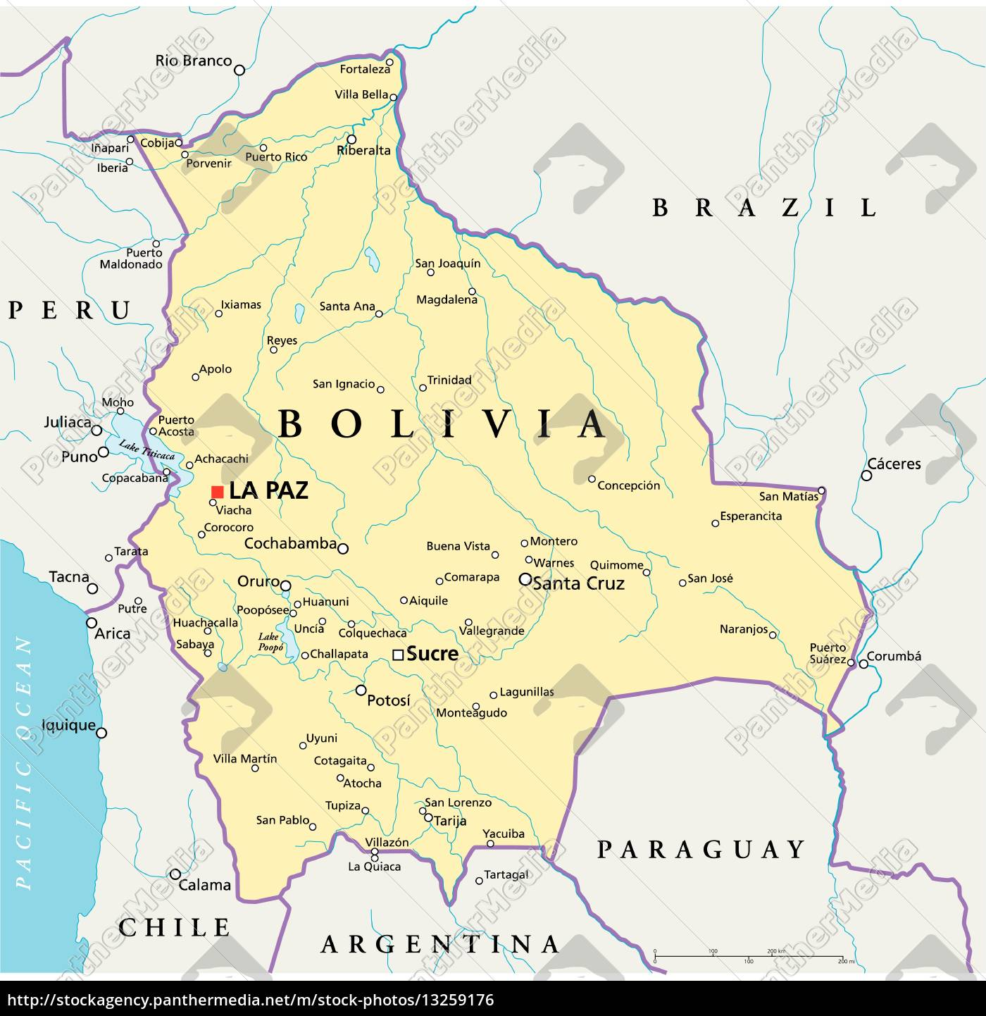 Bolivia Politisk Kort Stockphoto 13259176 Panthermedia