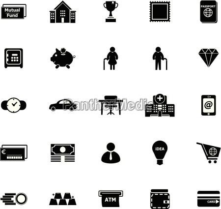 personlige finansielle ikoner pa hvid baggrund
