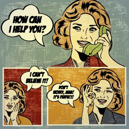 ilustracoes para quadrinhos com mulher retro