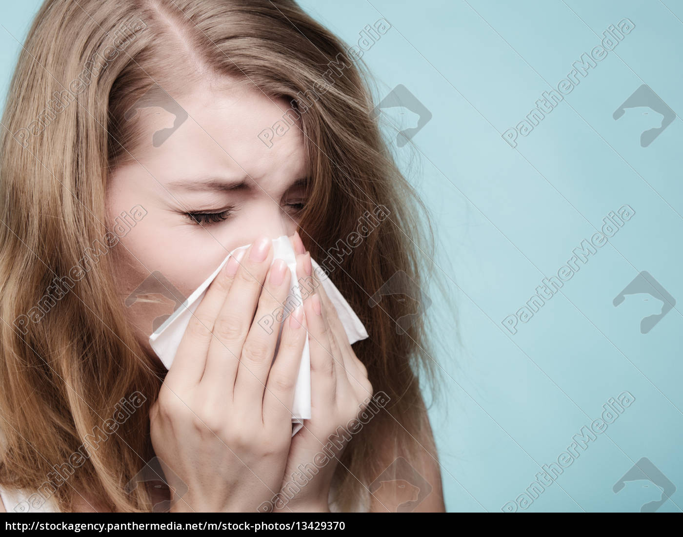 flu, allergi., syg, pige, nysen, i - 13429370