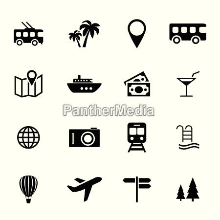 indsamling af flade ikoner ferie
