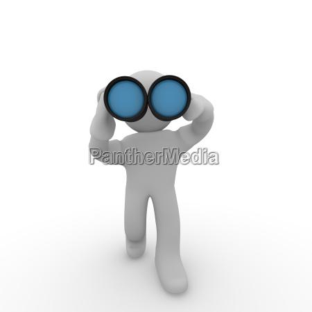 3d man with binoculars