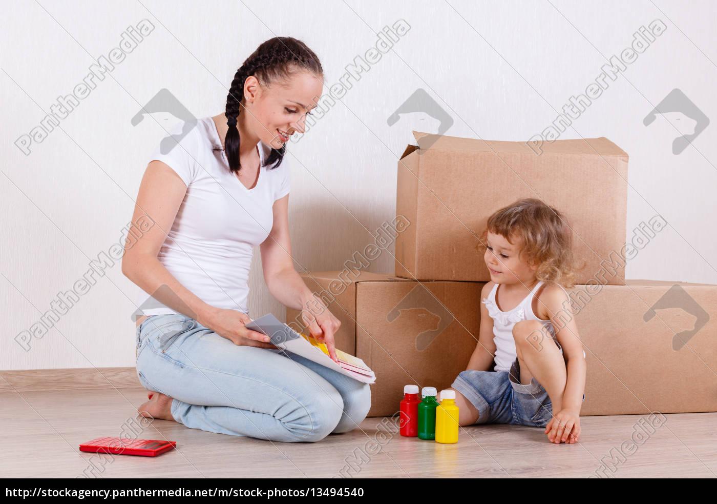 familien, sidder, i, et, værelse, i - 13494540