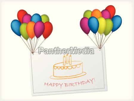 fodselsdagskort design haengende pa balloner