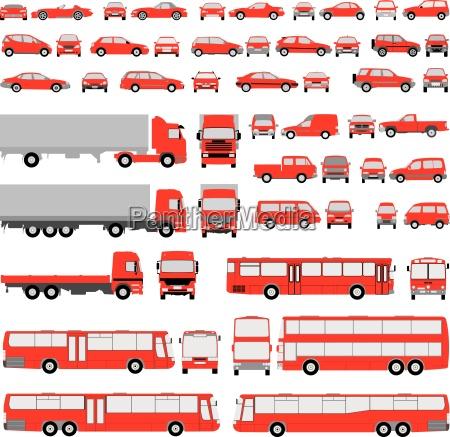 biler saet af silhuetter