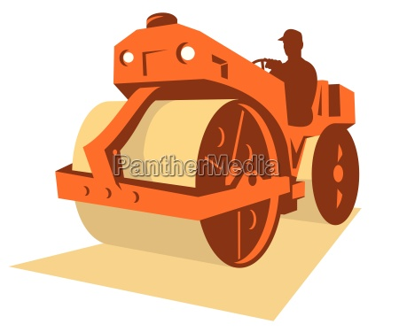 byggeri road roller retro