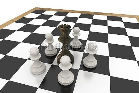 sort dronning omgivet af hvide bonder