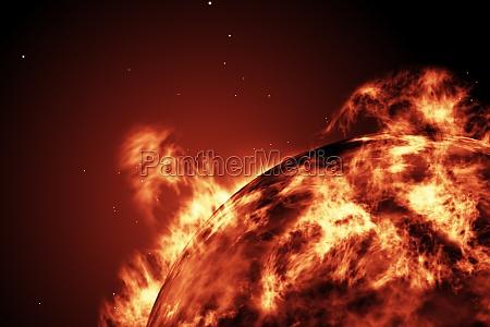 stor, brand, kugle, af, solen - 13749933