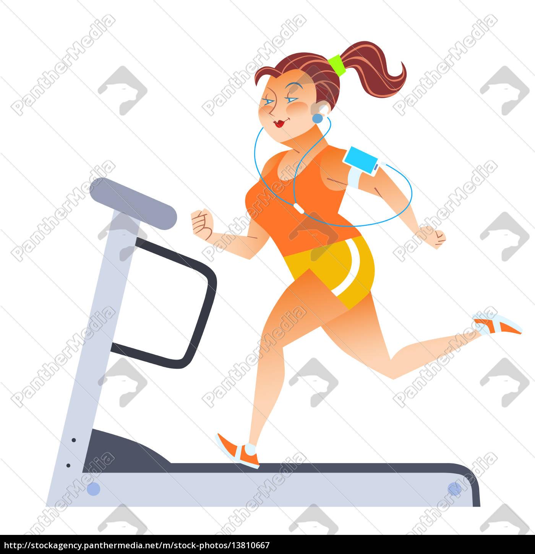 fed, kvinde, på, sport, stationær, løbebånd - 13810667