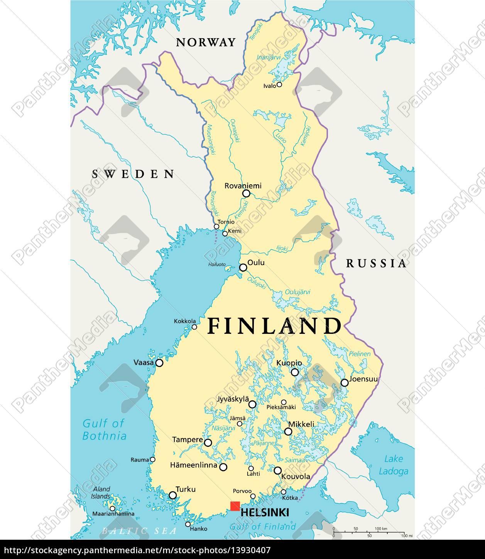 Finlands Politiske Kort Stockphoto 13930407 Panthermedia